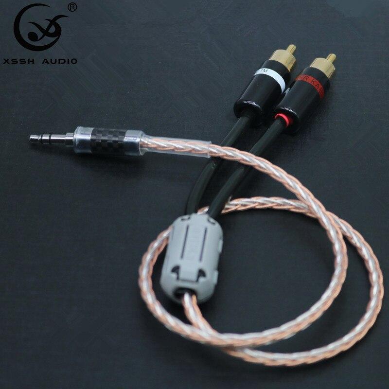 Hifi Canare 3,5mm eine 2RCA de Kabel de Audio de PC amplificador para móvil de interconexión de alta calidad 3,5 Jack eine RCA Kabel