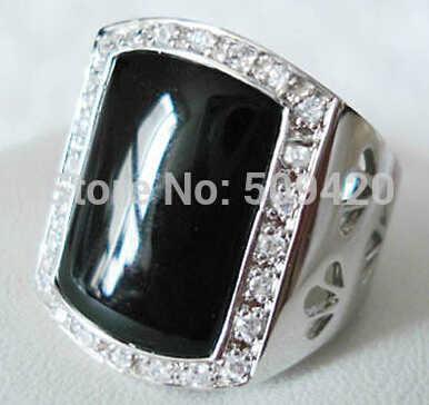 จัดส่งฟรี >>> สวยชายกว้างสีดำแหวนหยกขนาด 9 10 11 #