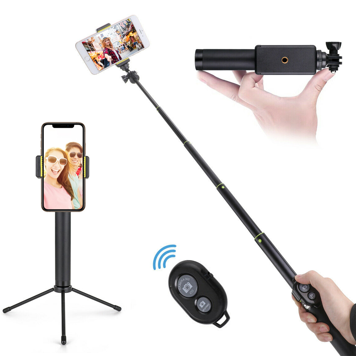 Portátil 3 em 1 selfie vara tripé