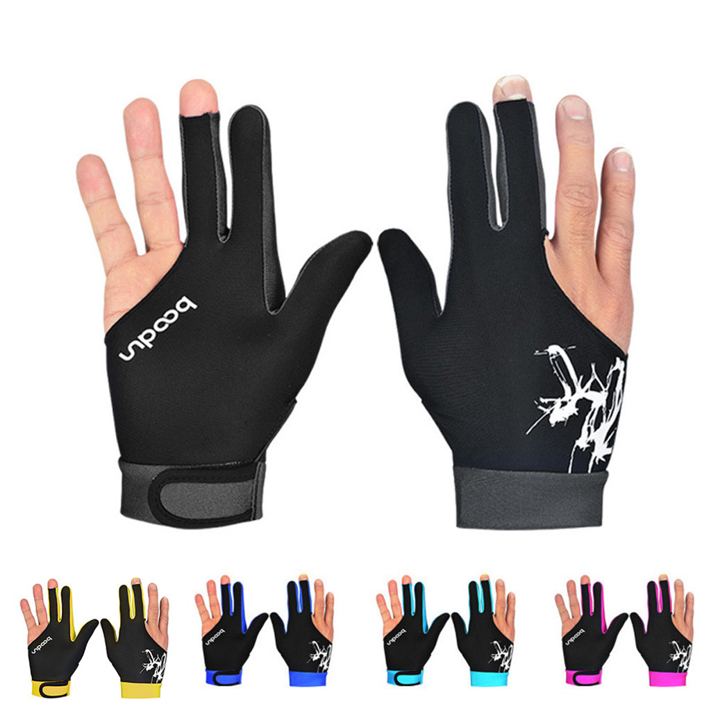 1PCS Three Fingered Billiard Gloves Pool Snooker Glove For Men Women Fits Both Left And Right Hand Billiard Accessories