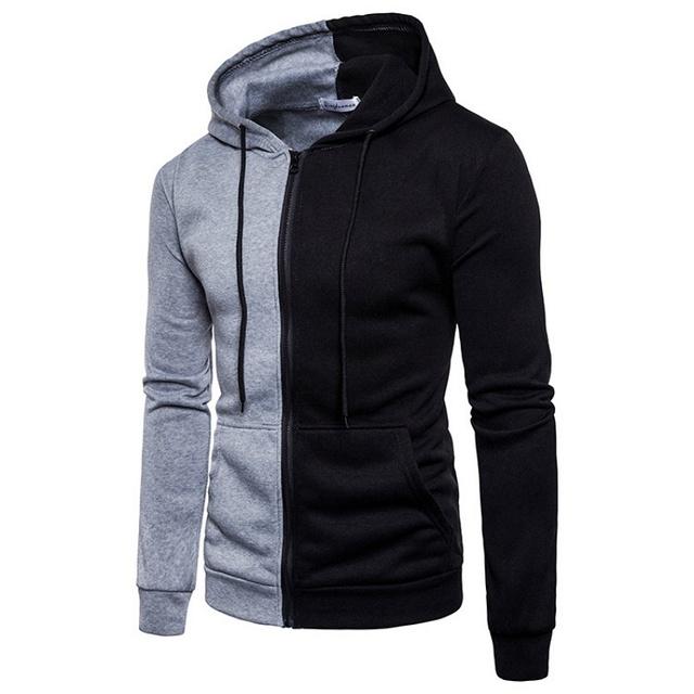 Splicing Sweatshirts Men New Casual Zipper Hoodie Sweatshirt Man Autumn Winter Patchwork Hoodies Streetwear Male Jacket Pullover