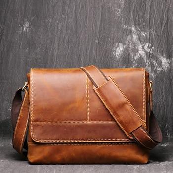 Vintage Natural Crazy Horse Leather Men Messenger Bags Big A4 Document Bag Retro Genuine Leather Shoulder Bags