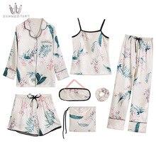 2020 Spring Summer Pajamas 7 Piece Sets Women's Faxu Silk