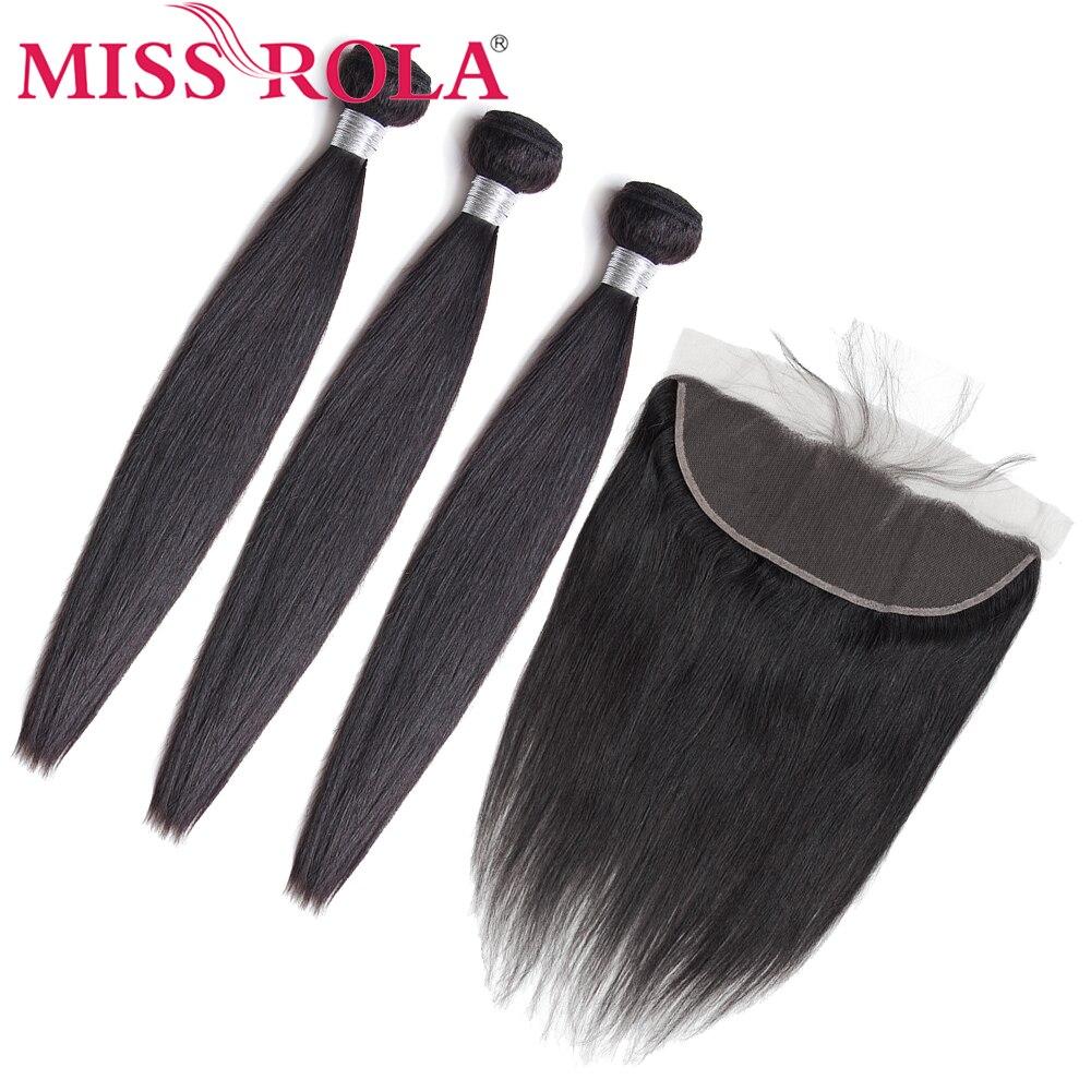 Miss Rola волосы предварительно окрашенные бразильские 3 пряди с кружевной фронтальной застежкой пряди без Реми прямые 100% человеческие волосы ...