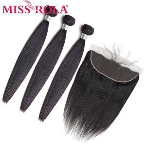 Miss rola cabelo pré-colorido brasileiro 3 pacotes com rendas frontal encerramento pacotes não remy em linha reta 100% extensões do cabelo humano