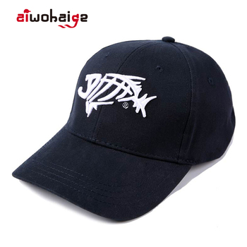 High Quality Man  Outdoor Fishing Cap Baseball Solid Breathable Cotton Hat Fish Bone Embroidery Gorras Male
