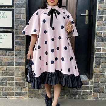 Women Pink Dress Polka Dot with Bowtie Lovely Loose Princess Party Ruffles Patchwork Short Sleeve African Female Cute Vestidos cute kids satchel with polka dot and cartoon shape design