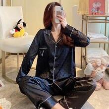 Pijama De Verano Y otoño Ropa De dormir Para Mujer pantalones De Seda Satinada... pijamas Ropa De Noche De Paj2 Conjunto De 2 Piezas Sexy Pijamas
