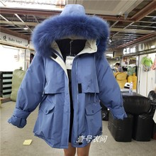 Real Fur Collar Warm Cotton-padded Jacket Womens Long Loose Parkas Overcoat Girl Student New Windbreaker Winter Casaco Feminino