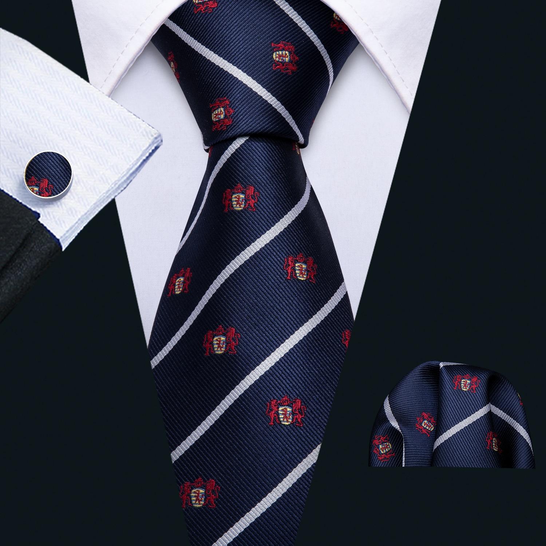 Blue Silk Tie Men Stripe Ties Set Handkerchief Cufflinks Novelty Necktie Animals For Business Party Male Gift Barry.Wang FA-5182