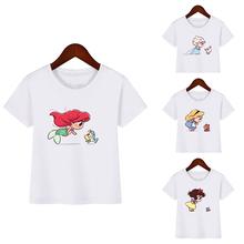 3-9 Kawaii syrenka i Elf najlepszy przyjaciel drukuj Cartoon dziewczyny topy letnie ubrania dla dzieci śnieżka Alice Princess T-shirt 2019 tanie tanio OLOME COTTON Poliester Modalne Tees Krótki REGULAR Pasuje mniejszy niż zwykle proszę sprawdzić ten sklep jest dobór informacji