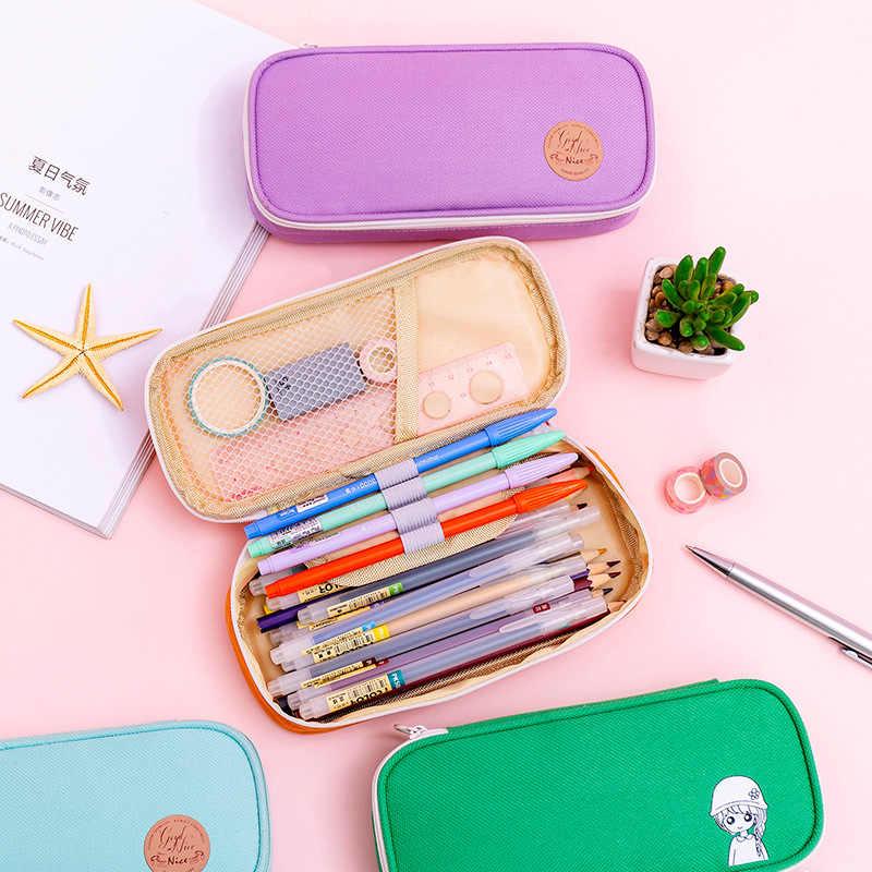 Yaratıcı fermuarlı kalem kutusu Dimi Tuval Büyük Kalem Kutusu Kawaii Kalem Çantası Öğrenci Kız Sevimli Okul Kırtasiye Malzemeleri
