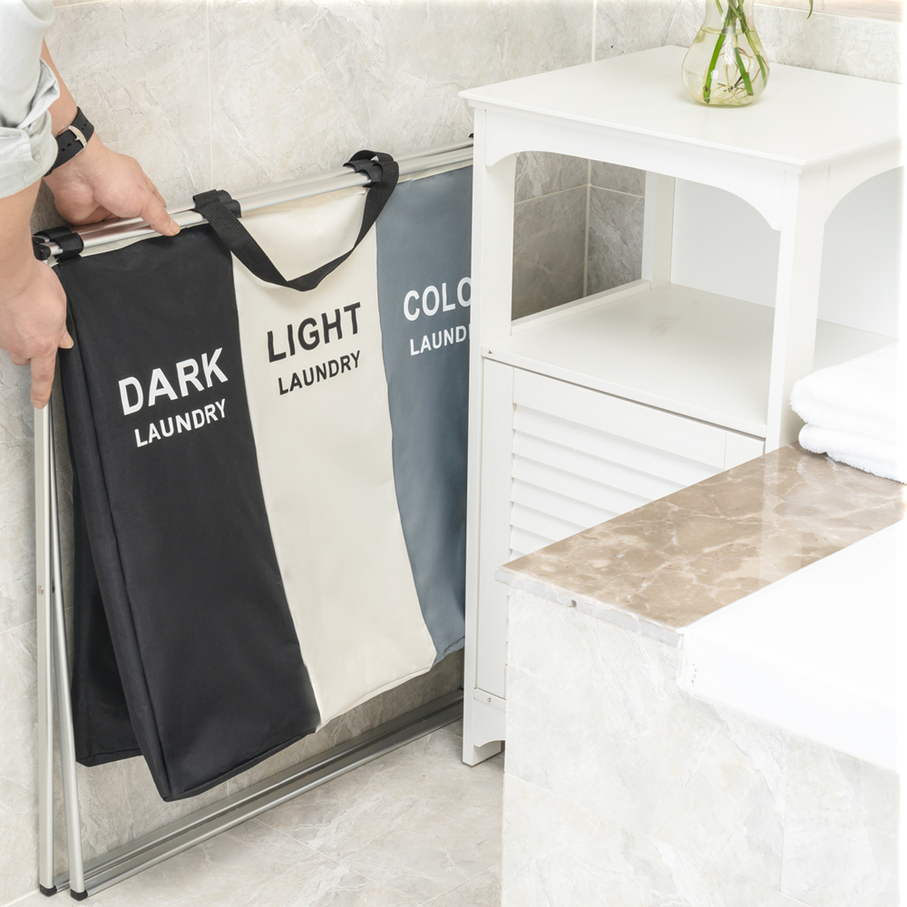 Image 5 - Shushi Foldable Dirty Laundry Basket Organizer Collapsible Three Grid Home Laundry Hamper Sorter Waterproof Laundry Basket Large-in Storage Baskets from Home & Garden