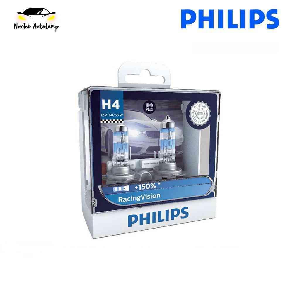 Philips Racing Vision H4 12V 55W 12342RVS2 Car Headlight Bulb +150% Halogen  Yellow 1650LM