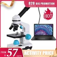 Zoom-microscopio biológico HD 2000x, accesorios y ocular electrónico, monocular para estudiantes, laboratorio, educación, LED, USB, 13 Uds.
