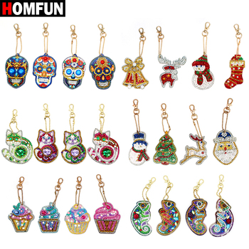 HOMFUN 5D Diamond Painting Keychain Special Rhinestone Embroidery Pendant DIY Craft Kits Cross Stitch Key Chain Accessories