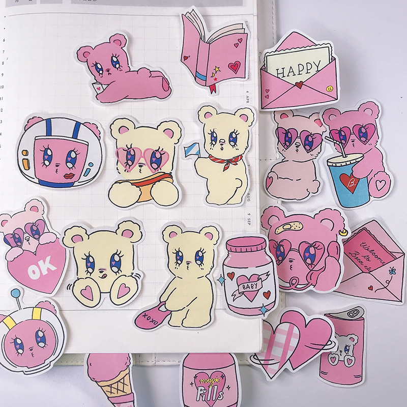 22PCS Pink Bear Account Sticker Hand Account Material Girl Heart Sweet Diary Decoration Refrigerator Skateboard Stickers