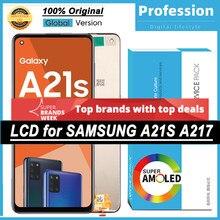 100% oryginalny 6.5 ''wyświetlacz z ramką do Samsung Galaxy A21s A217 SM-A217F/DS ekran dotykowy LCD naprawa części + Service Pack