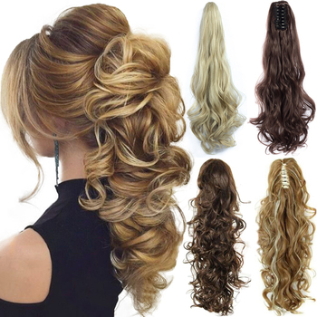 XINRAN Synthetic Fiber Claw Clip Wavy Ponytail Extensions Long Thick Wave Extension  In Hair For Women