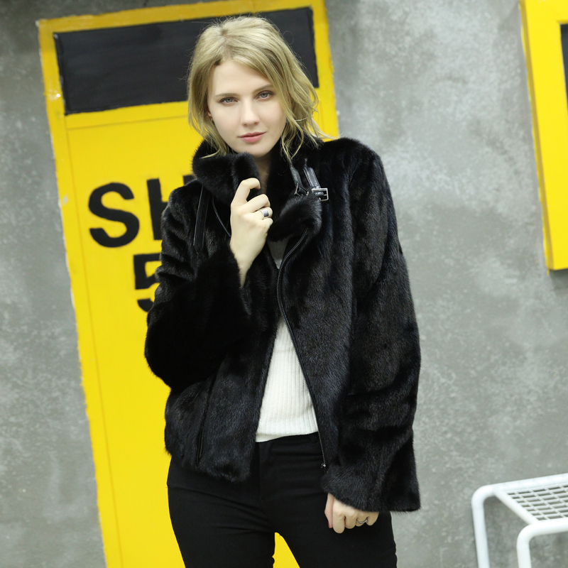 Luxury 2020 Real Fur Coat Female Natural Mink Coats Women Streetwear Mink Fur Jacket Stand Collar Winter Overcoat XRK-19 S