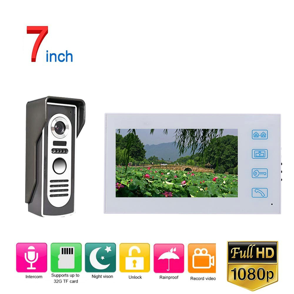 White Video Intercom System Kit 7 Inch Record Wired Video Door Phone Doorbell Intercom System With HD 1080P Camera