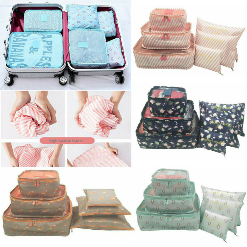 Hot Selling 6 PCS Travel Storage Bag Set For Clothes Tidy Organizer Suitcase Pouch Travel Organizer Bag Case Packing Cube Bag