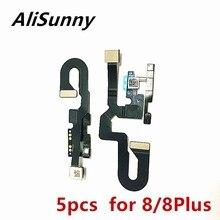 Alisunny câmera frontal, 5 peças para iphone 8 plus 8g 8 p virada pequena luz sensor de proximidade flexível peças de reposição para cabo