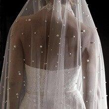 ไข่มุกสีขาวงาช้างยาวผ้าคลุมหน้าเจ้าสาวด้วยหวีOneชั้นCathedralผ้าคลุมหน้างานแต่งงานไข่มุกVelos De Noivaคริสตัลลูกปัด 3 เมตร