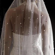 Velo de novia LARGO de MARFIL blanco con perlas, velo de boda de una capa con perlas, velo de novia de 3 metros
