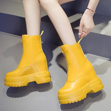 10cm Sexy High Heels Platform Boots Colorful Fashion Women Ankle Yellow Black Pink White Wedges Autumn 2019