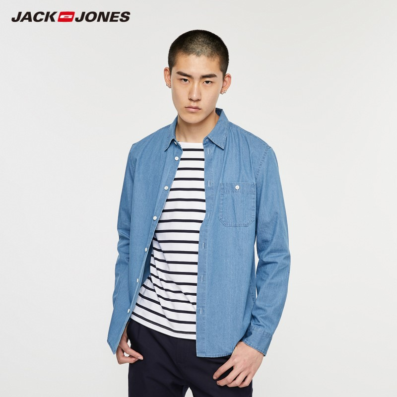 JackJones Men's New Arrival Straight Fit Stretch Cotton Long-sleeved Denim Shirt Menswear  219305513