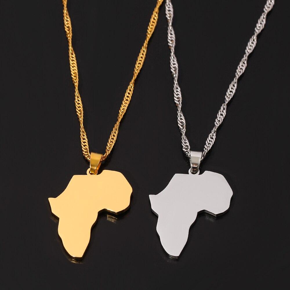 Женское Ожерелье В Стиле Хип-хоп, ожерелье с изображением карты Африки, воротник с ожерельем с подвесками, подарочное ювелирное изделие для ...