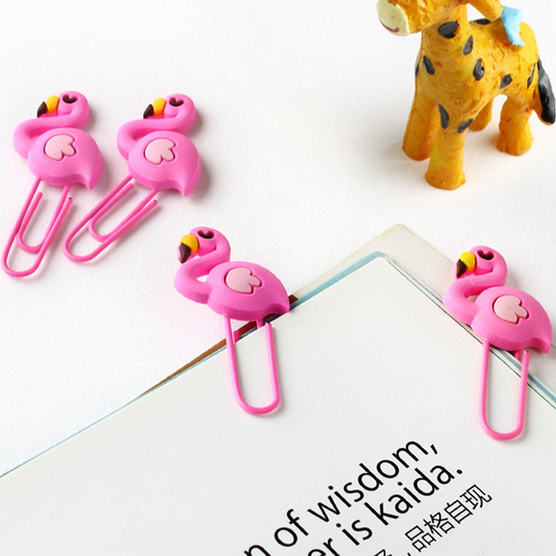 8Pcs/lot Beautiful Flamingo Bookmark Planner Paper Clip Metal Material Bookmarks For Book Stationery School Office Supplies