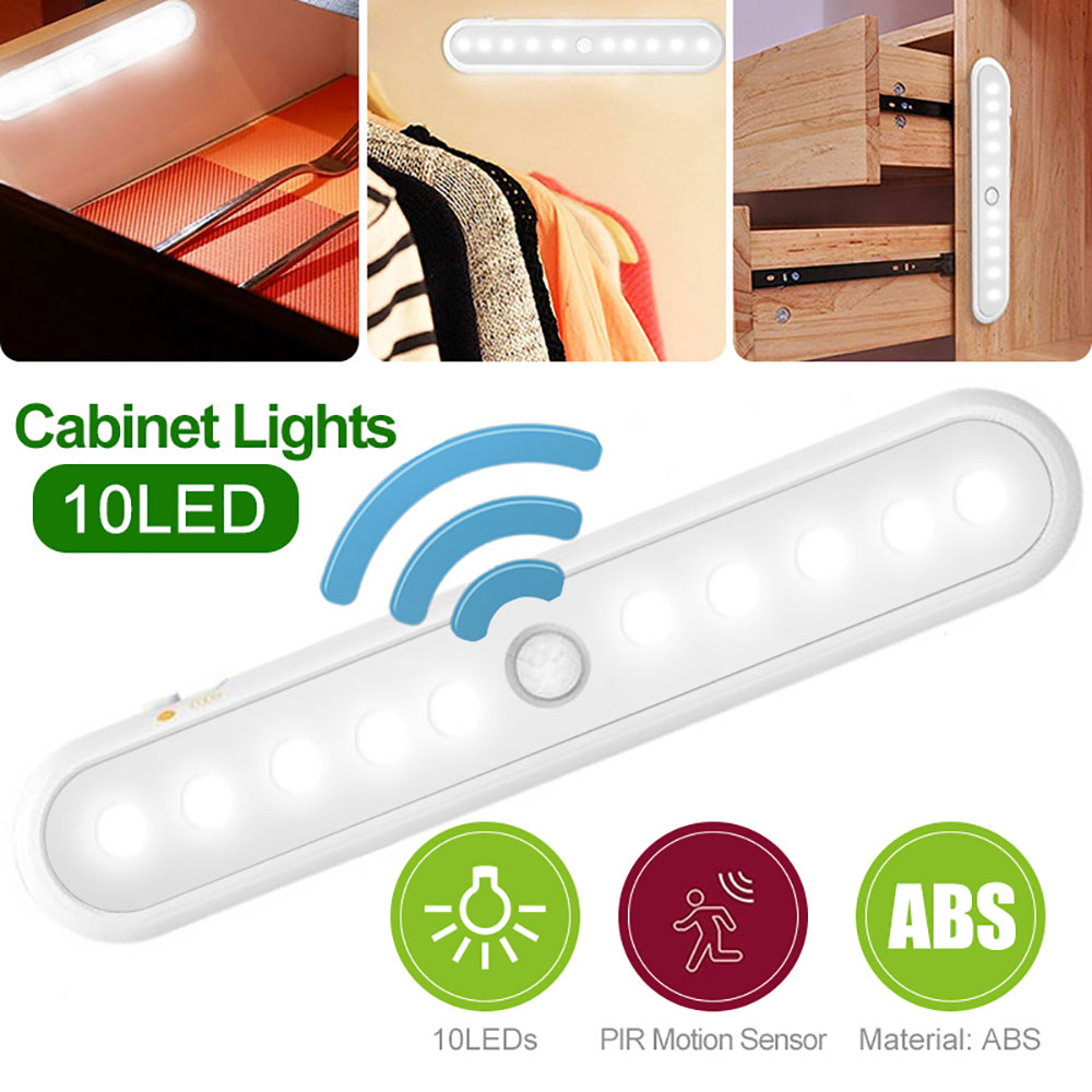 10 LED Advanced PIR Induction Cabinet Light Portable Closet Light 1/2/4 Pcs USB Rechargeable Wardrobe Kitchen Bright Night Light