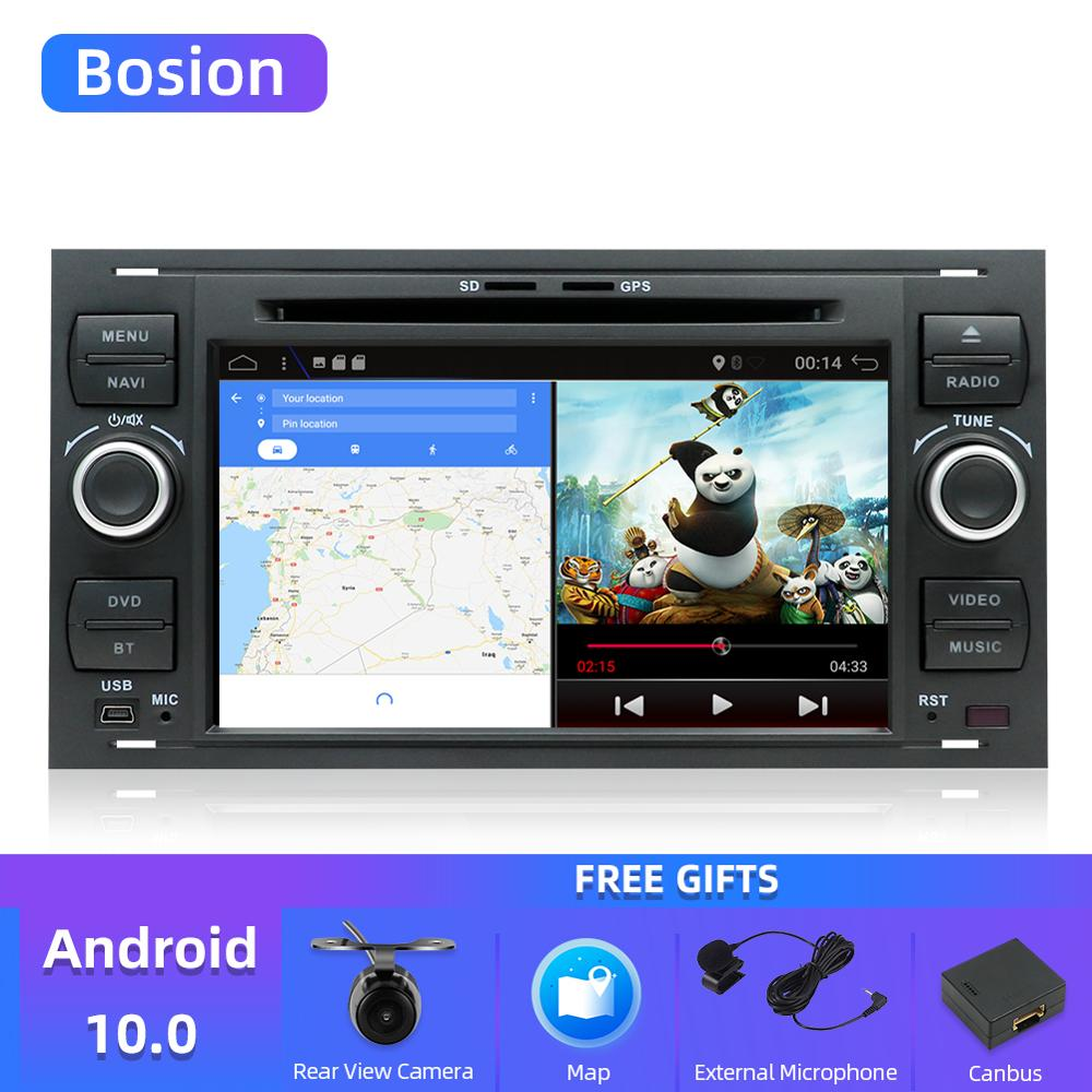 Bosion Quad core Android 10 Car DVD 2 Din car stereo for Ford Mondeo C max focus galaxy S max fusion ranger Multimedia AutoaudioCar Multimedia Player   -