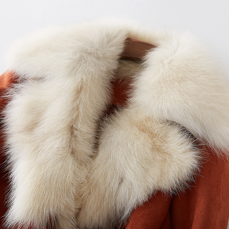 Luxury Big Natural Fox Fur Collar Suede Leather Jacket 2020 Fashion Short Warm Winter Coat Women chaqueta mujer WYQ1543