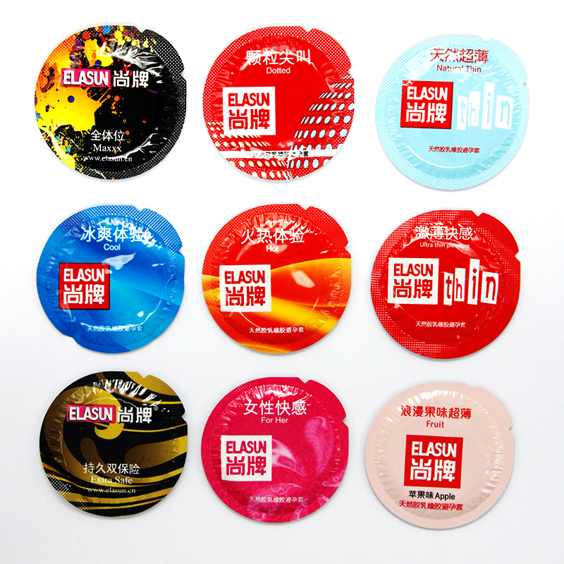 Elasun Condoms 50 Pcs/lot Plus Size Penis Different Varieties Large Spikes Fire Ice Condom Full Oil Smooth Lubricated Condom