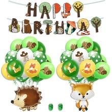 Animal balloon theme jungle wildlife aluminum film children cartoon zoo birthday party latex decoration