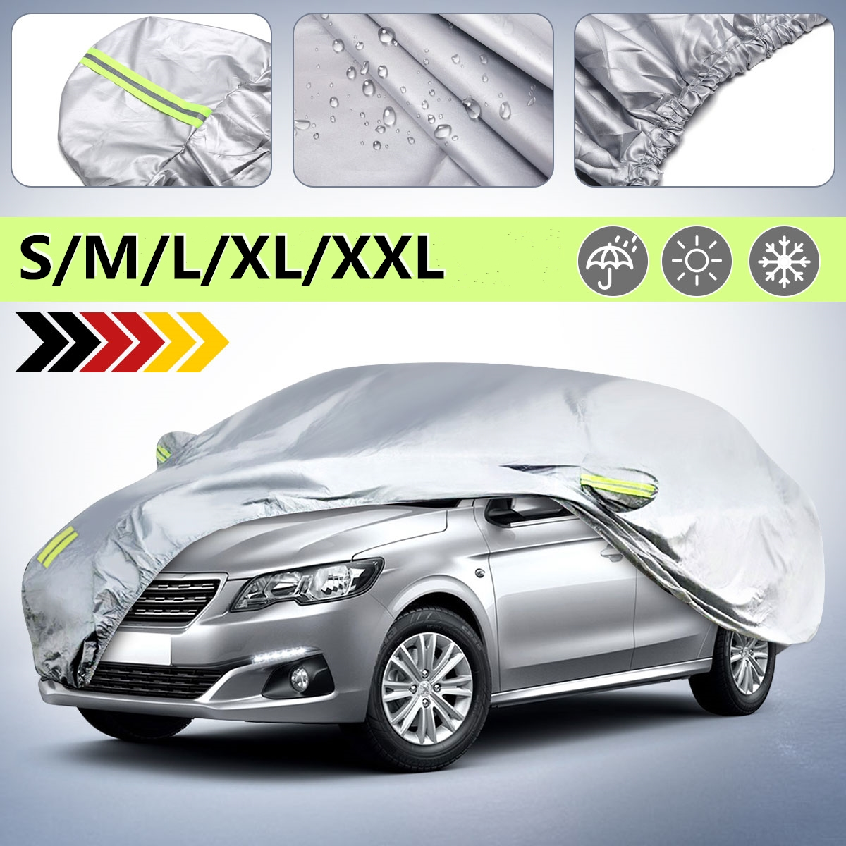 Universal For Sedan Car Covers Size S M L XL XXL Indoor Outdoor Full Auto Cover Waterproof Sun UV Snow Protection Silver Cover