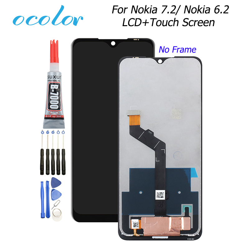 Ocolor For Nokia 6.2 LCD Display And Touch Screen Digitizer Assembly Replacement With Tools + Glue 6.3'' For Nokia 7.2 Phone