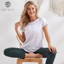 Crz yoga feminino pima algodão treino de fitness em torno do pescoço manga curta t