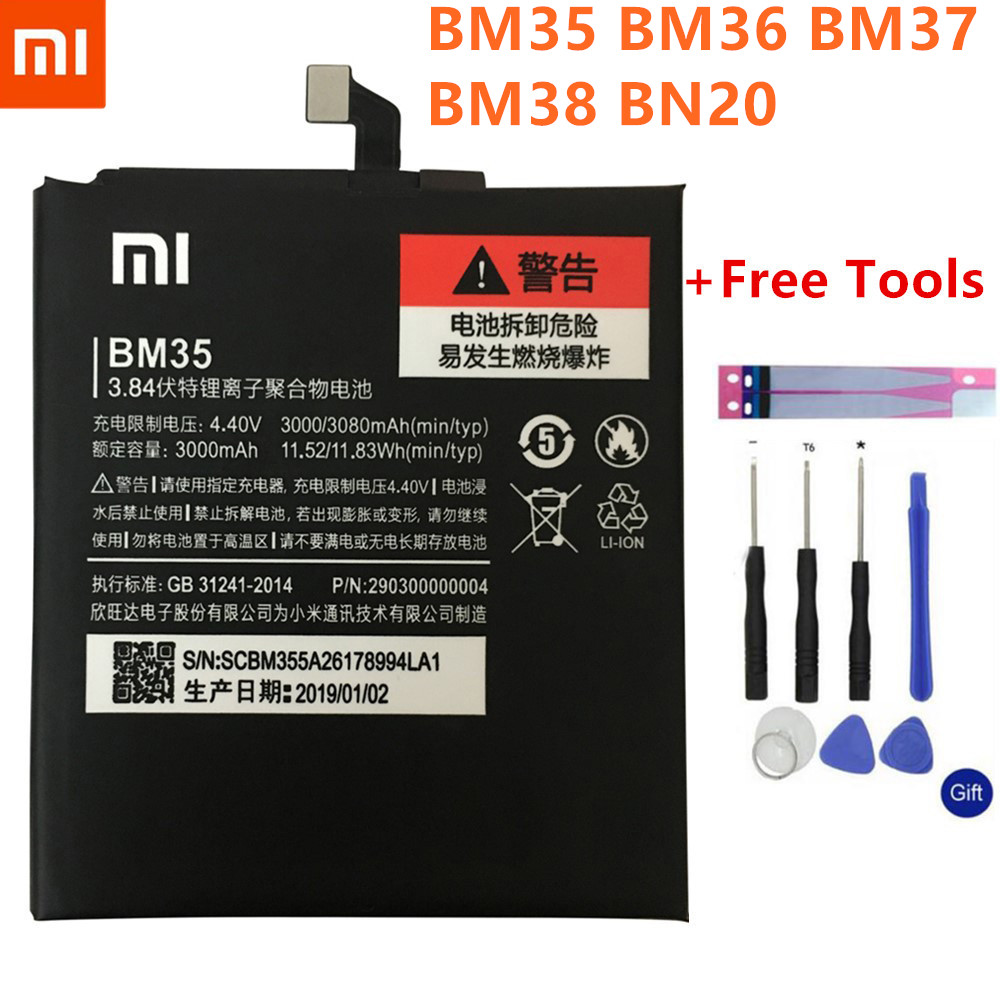 <font><b>BM35</b></font> BM36 BM37 BM38 BN20 <font><b>Battery</b></font> For <font><b>Xiaomi</b></font> Mi <font><b>4C</b></font> 5C 4S 5S Plus <font><b>Mi4C</b></font> Mi5S Mi5C Replacement Lithium Polymer Bateria+ Free Tools image