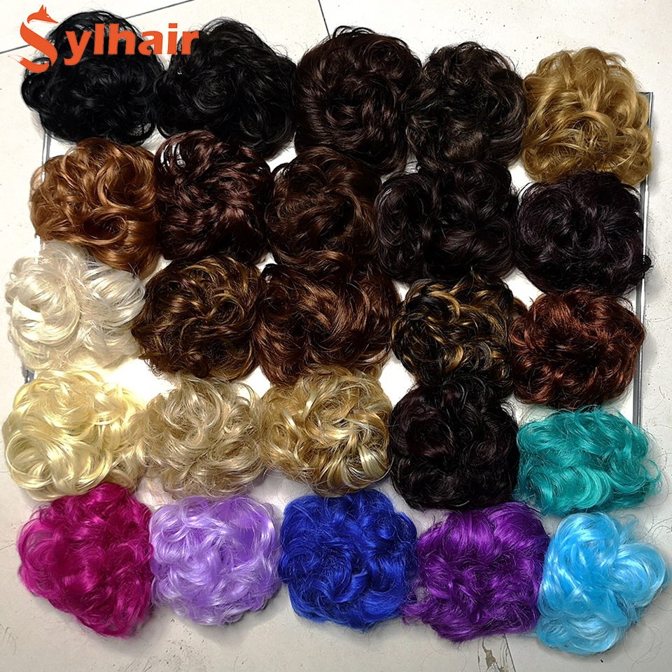 Sylhair Synthetic Hair Chignon Donut Elastic Rope Rubber Band Hair Bun Pad Updos Messy Hairstyle Dropshipping Supplier