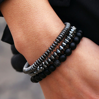3Pcs/set Fashion Hematite Stone Bead Bracelet Men Matte Black Stone Bead CZ Ball Bracelet Sets For Men Women Jewelry Gift stylish square fake turquoise bead bracelet for women
