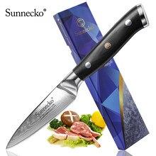 Sunnecko, faca de cozinha de aço vg10, 3.5 polegadas, lâmina afiada de damasco, cabo g10, ferramenta de chef corte corte corte corte
