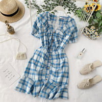 Korea Ins V Neck Short Sleeve Plaid Single Row Buckle Ruffled Dress Women Casual Elegant Vestidos J067