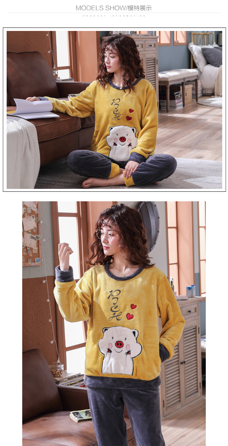 Long Sleeve Warm Flannel Pajamas Winter Women Pajama Sets Print Thicken Sleepwear Pyjamas Plus Size 3XL 4XL 5XL 85kg Nightwear 399
