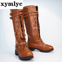 Женские сапоги до колена высокие осень зима туфли со шнуровкой
