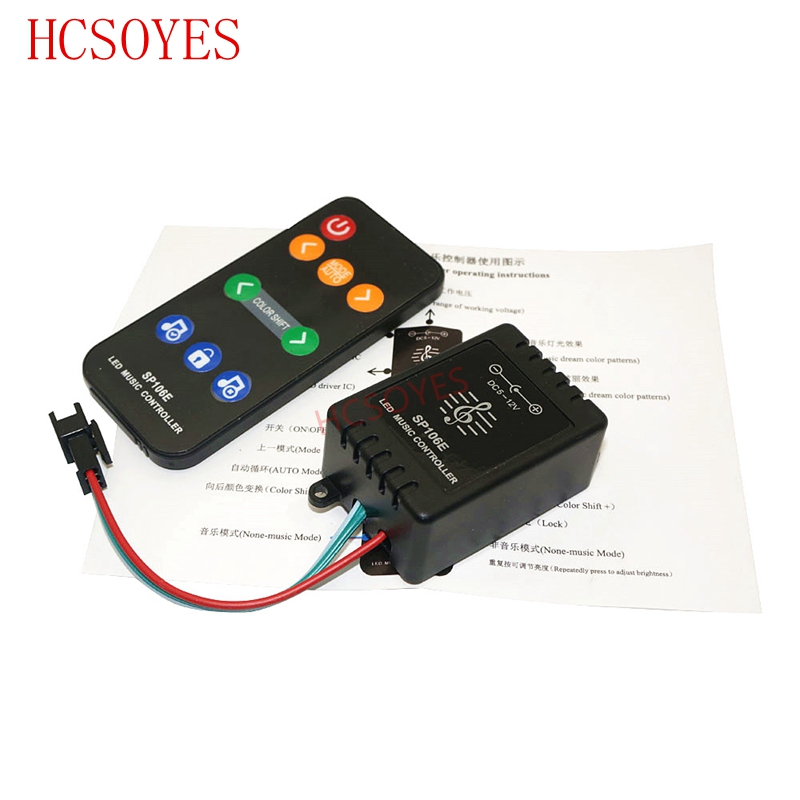 SP106E 9keys LED Music Controller DC5V-12V WS2811 /WS2812B /6812 /1903/6803 Magic LED Tape Digital Colorful Music Controller