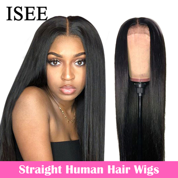 ISEE HAIR Straight Lace Front Human Hair Wigs For Women 13X4 Lace Frontal Wig Malaysian Straight Lace Closure Wig 4X4 Lace Wig
